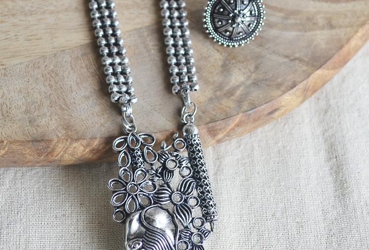 Bahubali Elephant Oxidized Necklace Set