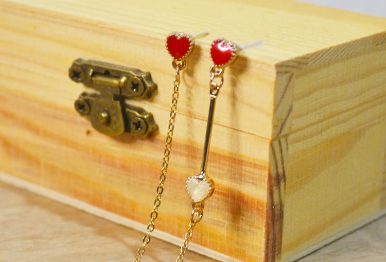 Assymetric Heart Dangle Earrings