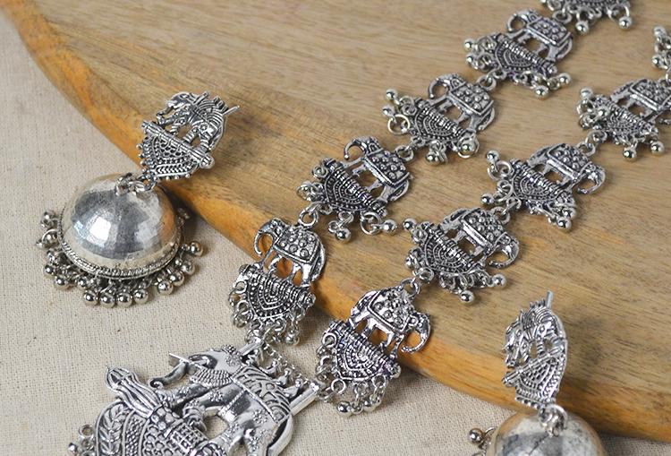 Bahubali Oxidized Long Necklace Set