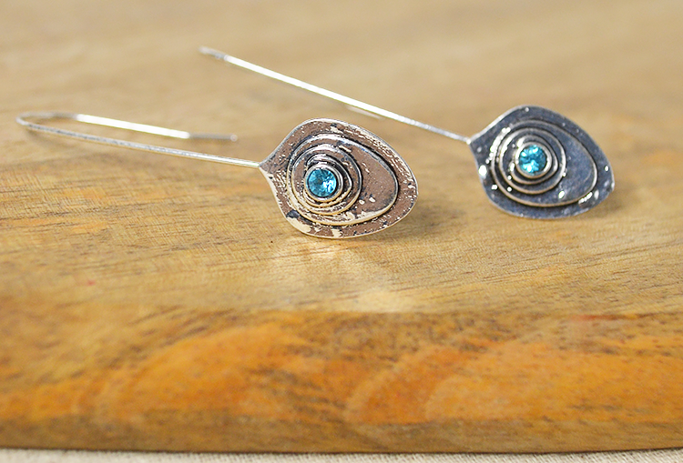 Silver Blue Stone Feather Minimal Dangle Earrings