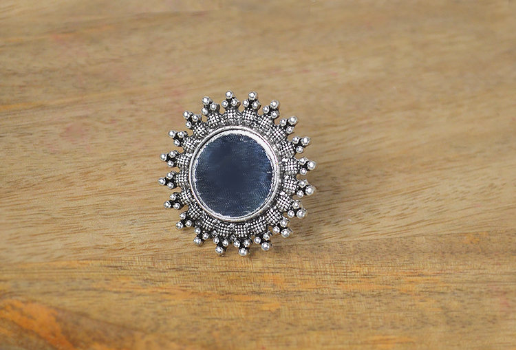 Sunflower Mirror Oxidized Silver Finger Ring
