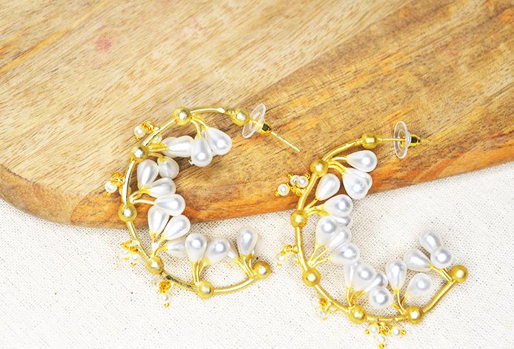 Baroque Drop Pearls Brass Base Gold Polish Hoop Earrings