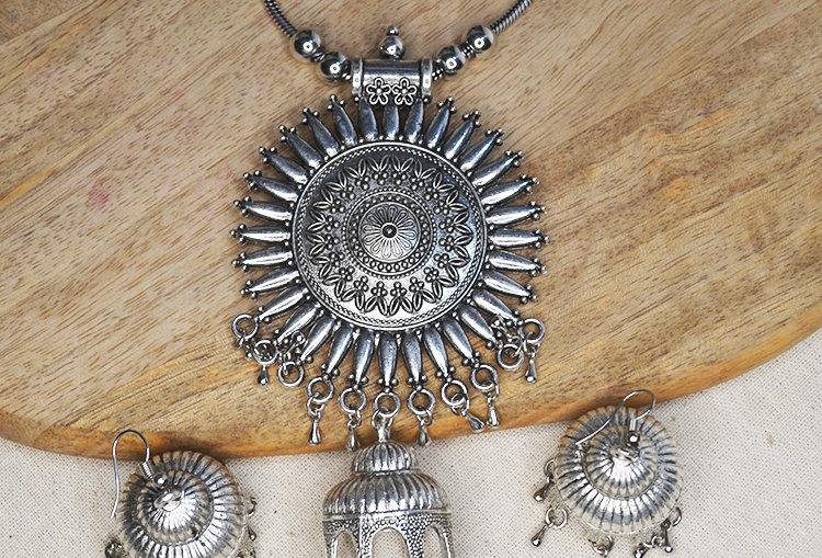 SURYAMUKHI Jhumka Necklace and Earrings Set