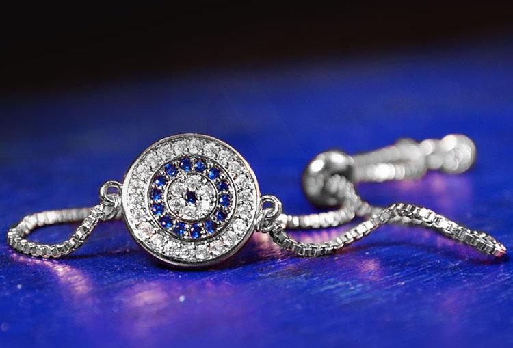 Evil Eye Zircon Silver Adjustable Bracelet