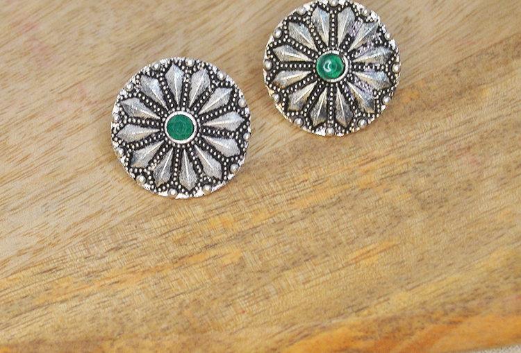 Stone Studded Chakra Stud Earrings