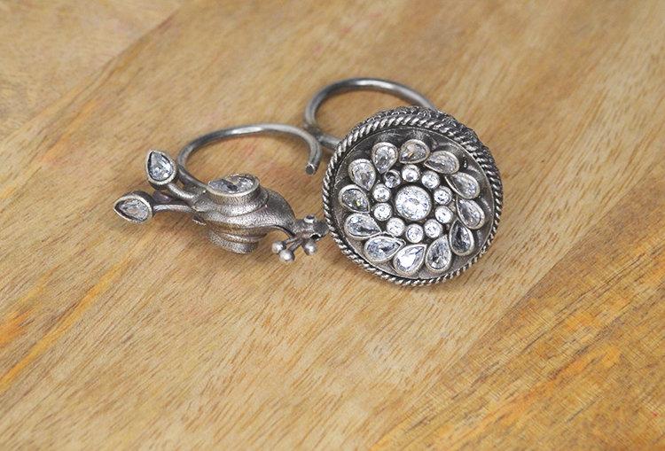 MRUNAL - Peacock and Lotus Flower Stone Studded Silver Look Alike Finger Ring