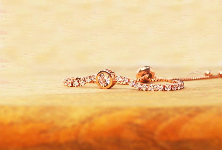 Round Tennis Cubic Zirconia Rose Gold Adjustable Bracelet