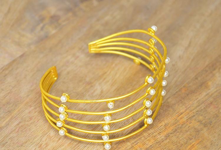 Gold Dust and Pearl Kada Bangle