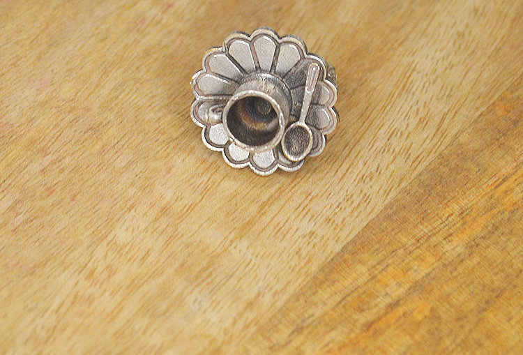 Tea Time Scripted Cup Silver Look Alike Finger Ring