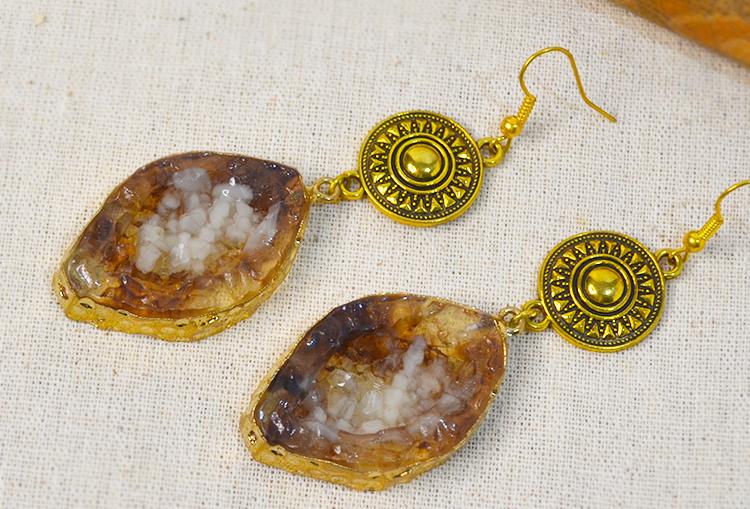 Chakra Druzy Dangle Drop Earrings