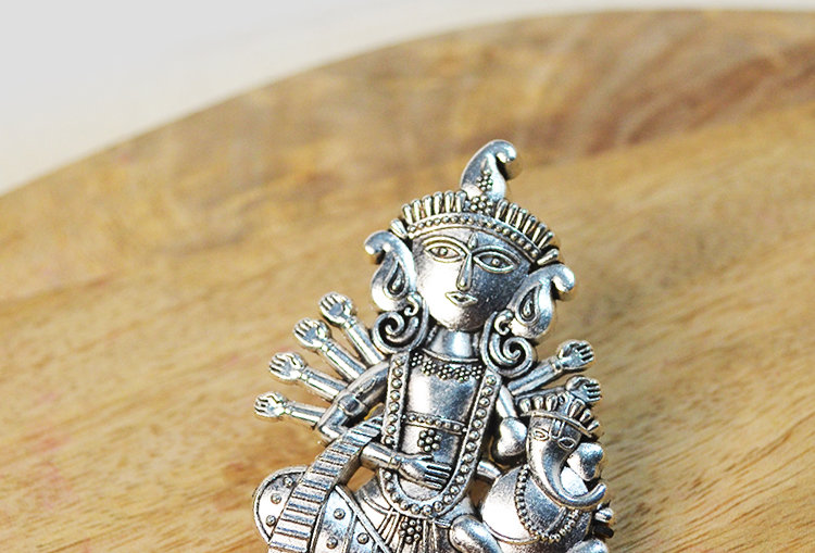 Gauri Ganpati Mega Size Oxidized Silver Tone Finger Ring