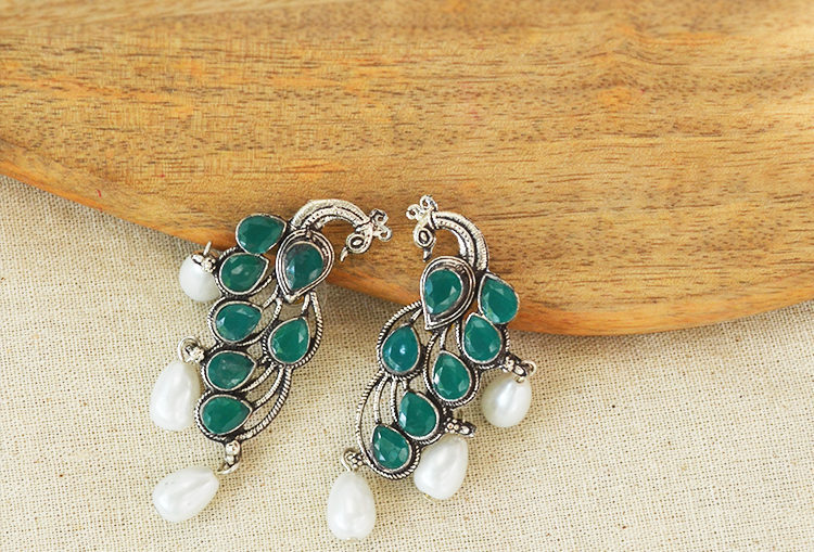 MORNI - Peacock and Pearl Kemp Stone Studded Silver Tone Earrings