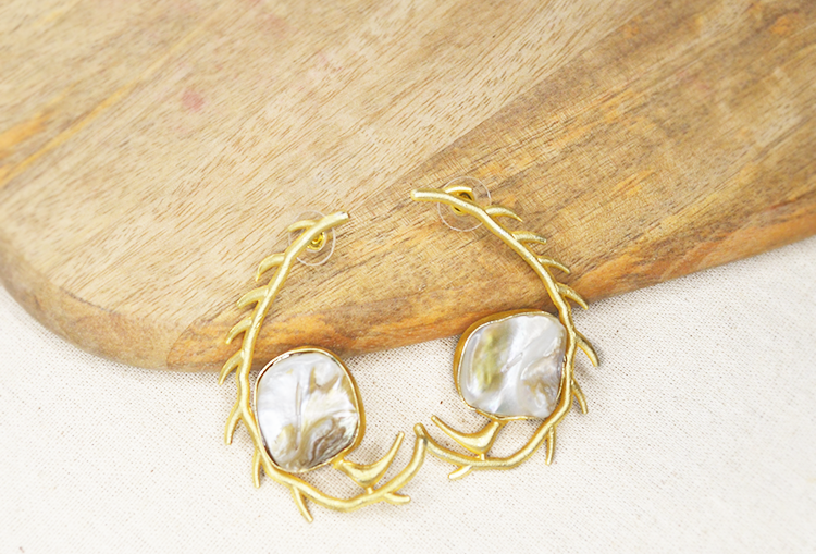 Baroque Pearl Coin and Twig Brass Base Gold Polish Hoop Earrings