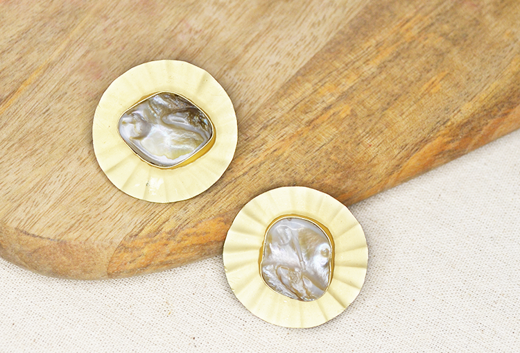 Baroque Pearl Coin Button Stud Earrings