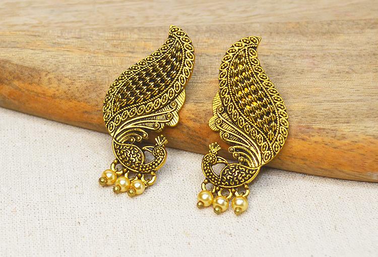 MAYURI - Peacock and Pearl Earrings