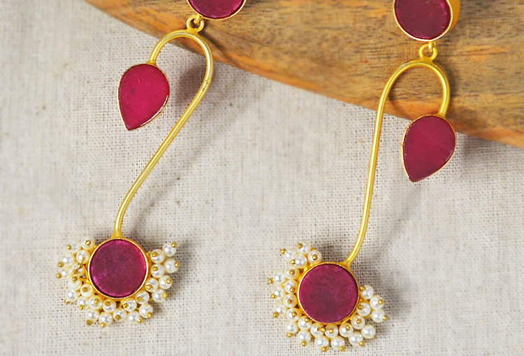 Raw Druzy Crystal and Pearls Long Dangle Earrings