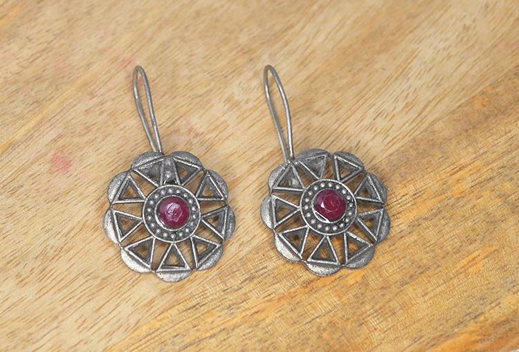 Stone Studded Flower Drop Earrings