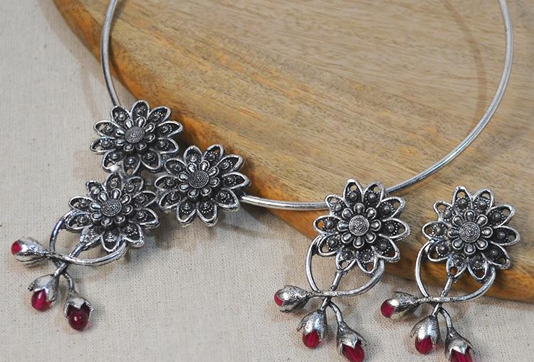 SAROJ  - Oxidized lotus flowers hasuli necklace set
