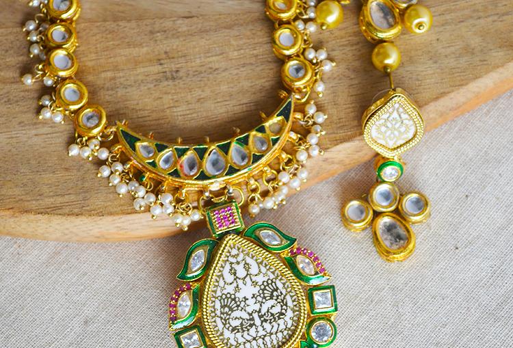 Meenakari Kundan Tanjore Gold Polish Necklace and Earrings Set