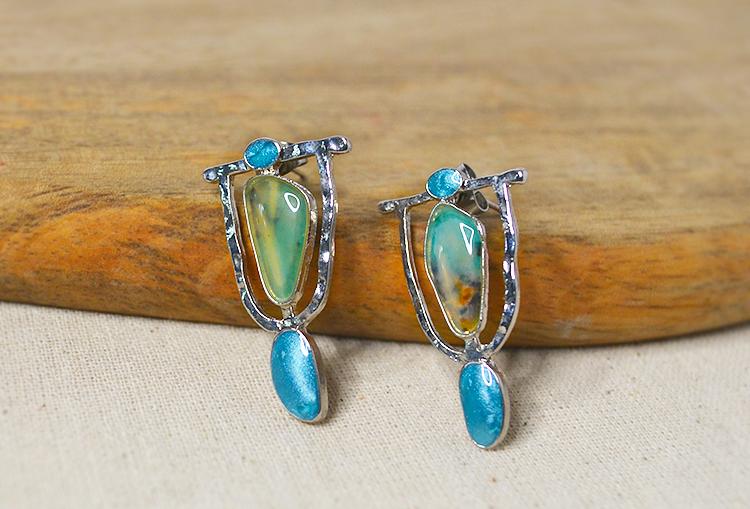 Resin Stone Blue Mosaic Stud Earrings