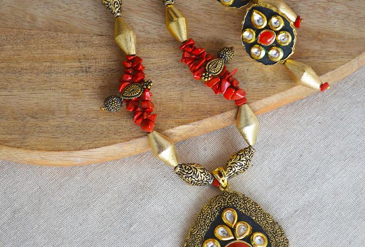 Coral Princess - Coral Nuggets Geru Bead and Kolhapuri Beaded Necklace