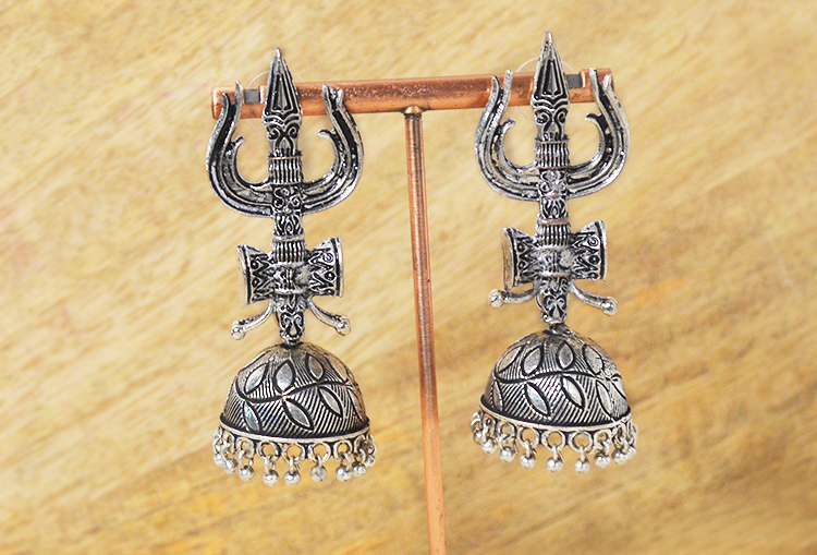 Trishool Damru Oxidized Jhumka Earrings
