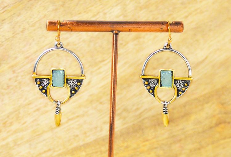 Raw Druzy Crystal Two-Tone Drop Earrings
