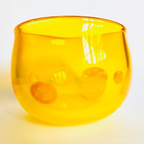 Yellow polka dot bowl