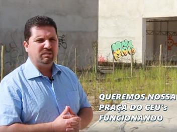 Serginho parabeniza o prefeito Bilh Zanetti pela retomada das obras na Praça do CEUs