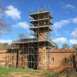 Scaffolding reaches top of tower