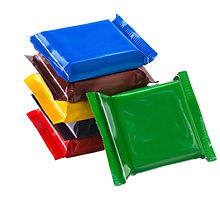 Square chocolate bars in multi-colored p