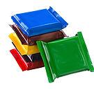 Square chocolate bars in multi-colored p
