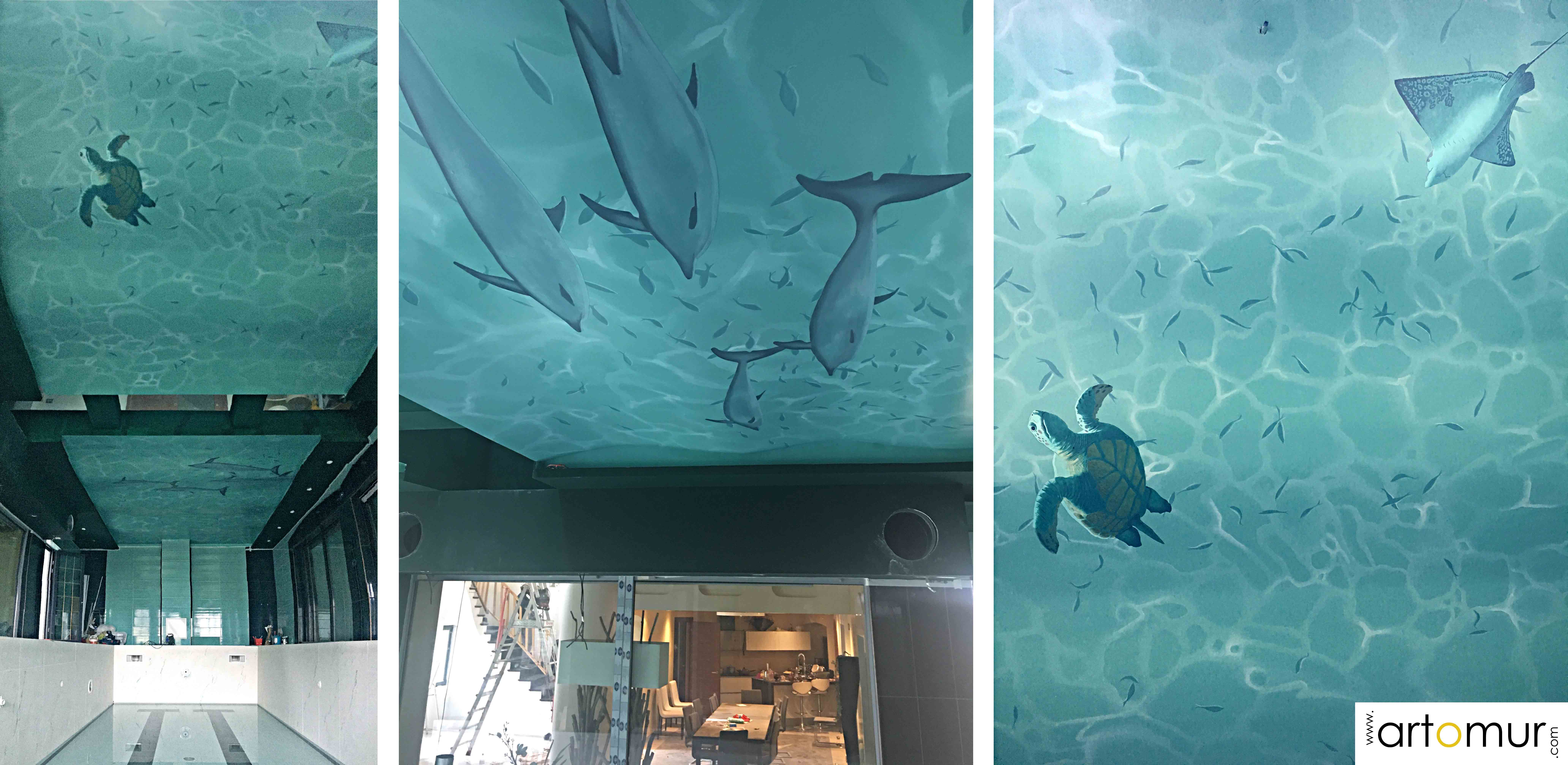 plafond peint piscine