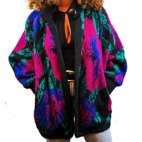 VINTAGE 80S OPEN FRONT CARDIGAN (ONE SIZE)