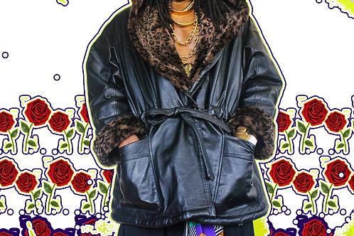Vintage Hooded Leather Luxury Coat (2X)