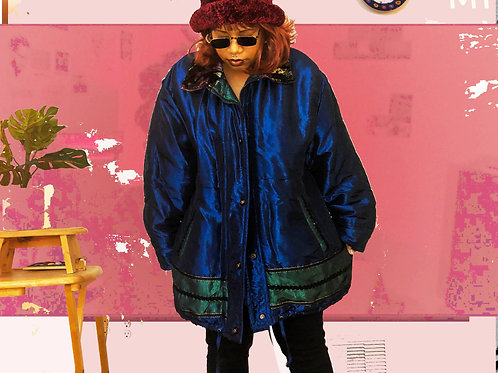 VINTAGE 80S 90S FLORAL COLLAR PUFFY COAT (XL)