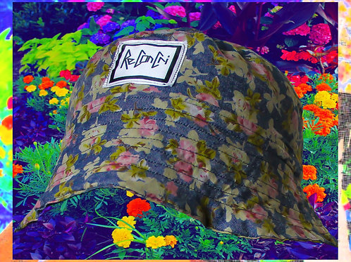 RECONCRI CUSTOM FLORAL BLUE BUCKET HAT