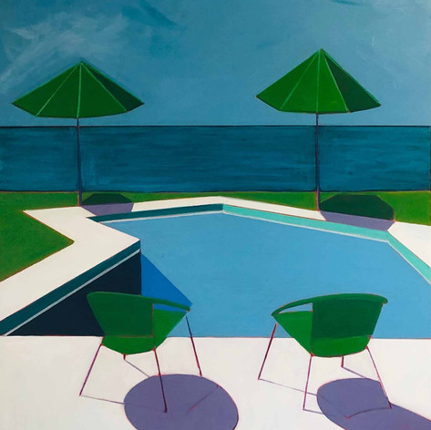 Pool with Two Chairs & Green Umbrellas