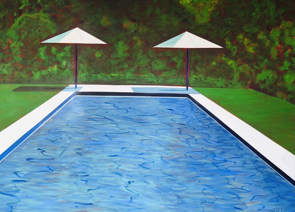 Pool Umbrellas & Vivid Green Forest