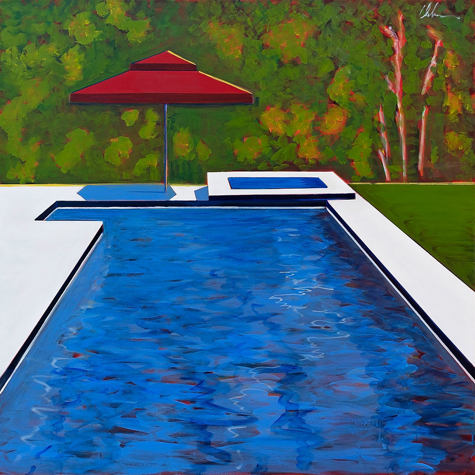 Pool with Red Umbrella