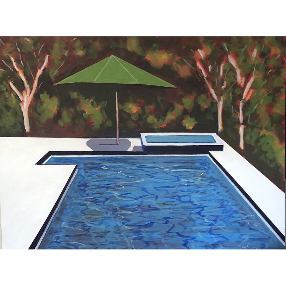 Green Umbrella Pool with Leaves