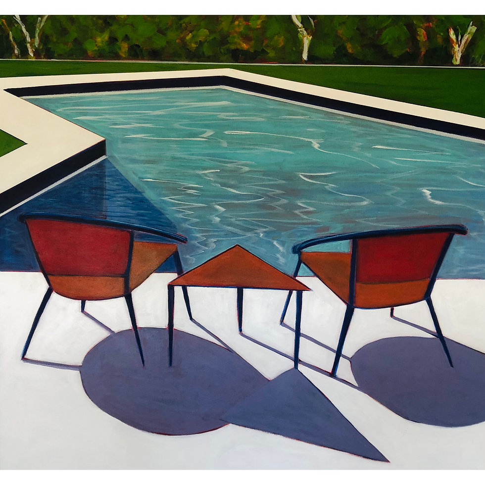 Two Chairs One Table with Pool and Trees   SOLD