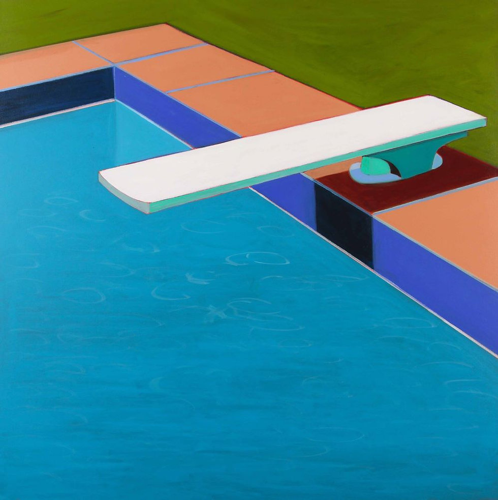 Pool with Diving Board in Turquoise