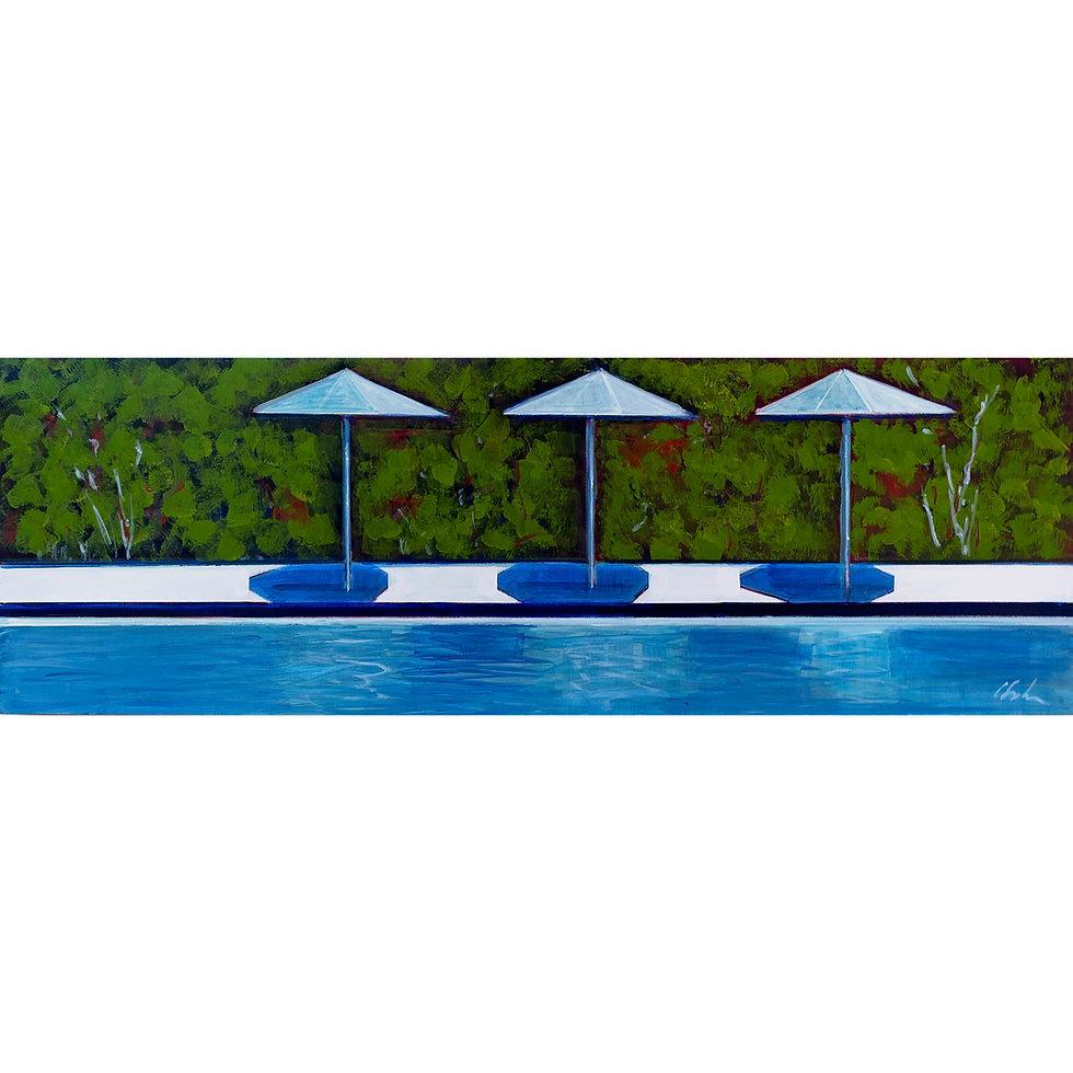 Pool with Three White Umbrellas