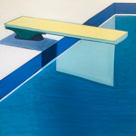 Abstract Pool with Yellow Diving Board