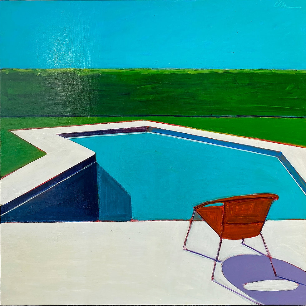 Pool with One Orange Chair