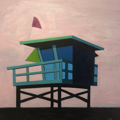 Life Guard Station with Magenta Flag