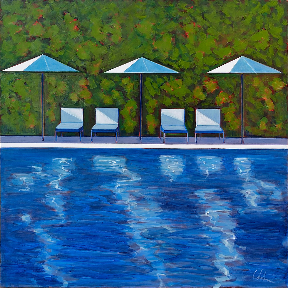 Pool with 4 Chairs and 3 Umbrellas   SOLD