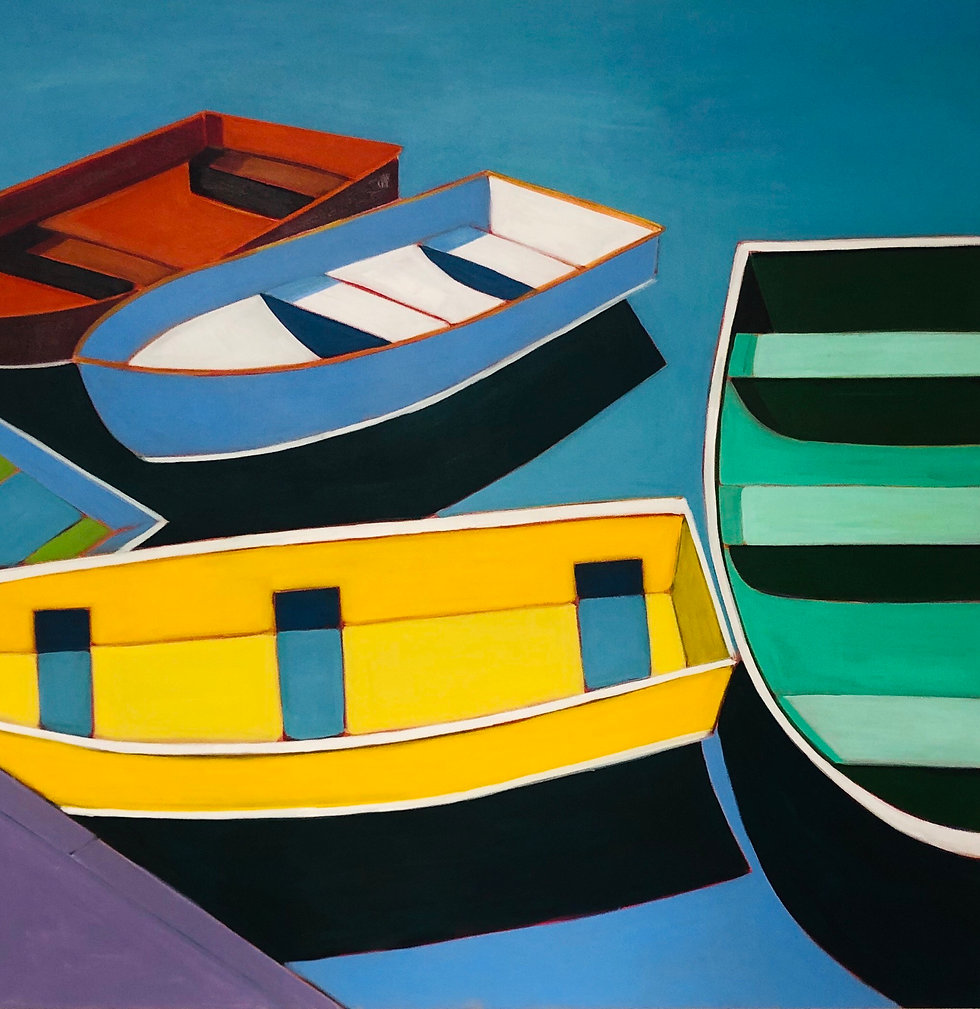 Abstract Boats with Green & Yellow