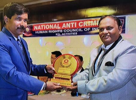 National Anti Crime and Human Rights Council of India. Award function at  Zesti Restaurant Vadodara,
